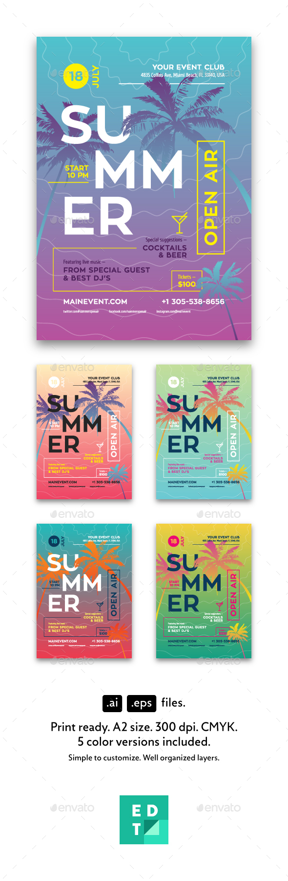 Summer Flyer/Poster Template - Clubs & Parties Events