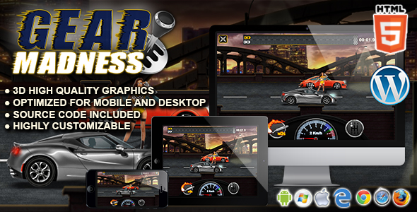 Gear Madness - HTML5 Racing Game - CodeCanyon Item for Sale