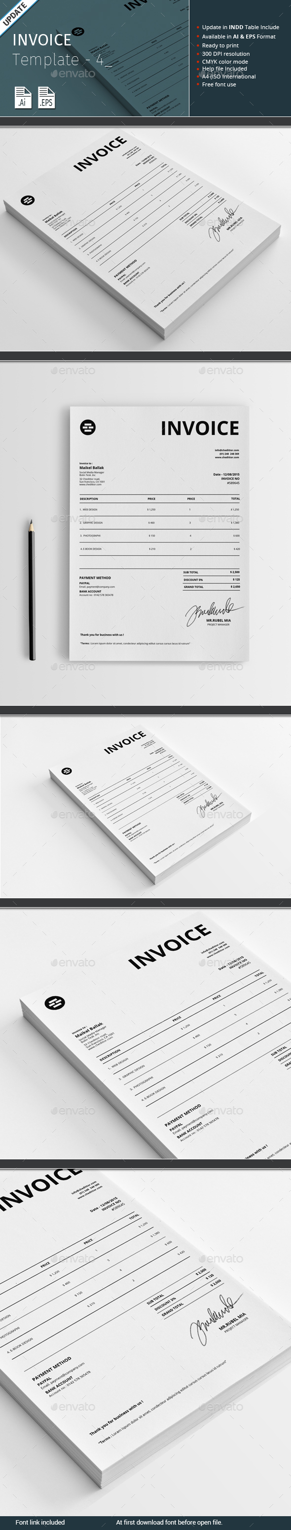Invoice Template - 4 - Proposals & Invoices Stationery