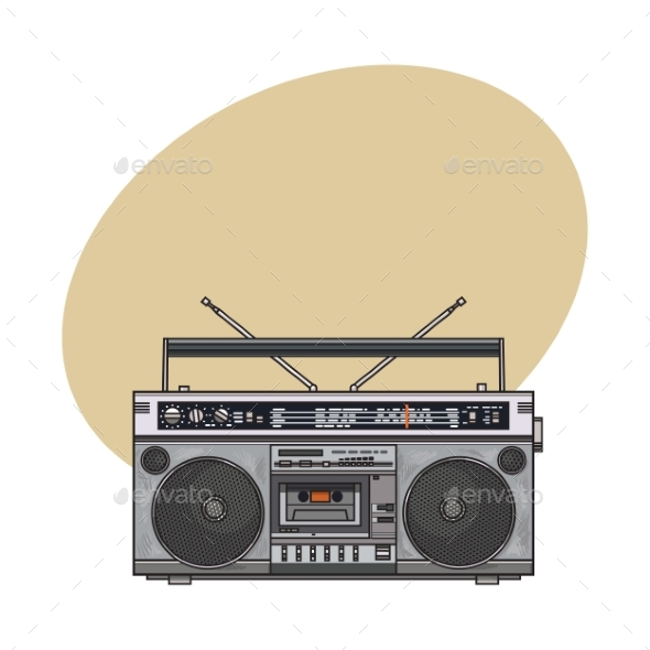 Retro Style Audio Tape Recorder Ghetto Boom Box - Retro Technology