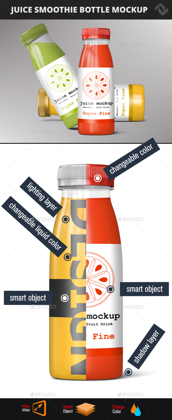 Bottle Smoothie Juice Mockup - Food and Drink Packaging