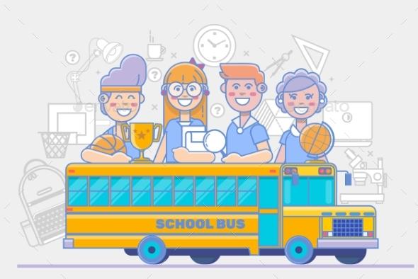 School Children Activities Linear Education - People Characters