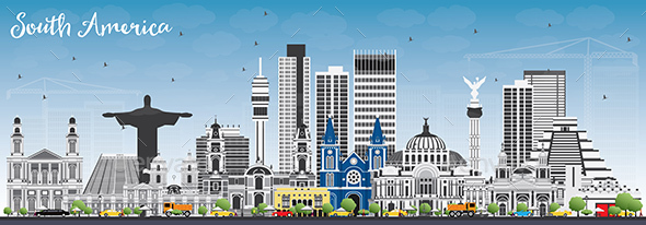 South America Skyline with Famous Landmarks - Buildings Objects