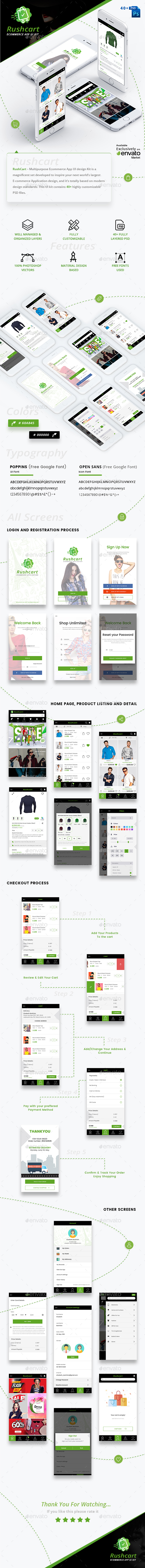 RushCart  - Multipurpose Ecommerce App UI Kit - User Interfaces Web Elements