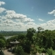 Blue Sky, Park and Clouds View. Panoramic Landscape Nature Sunny Day