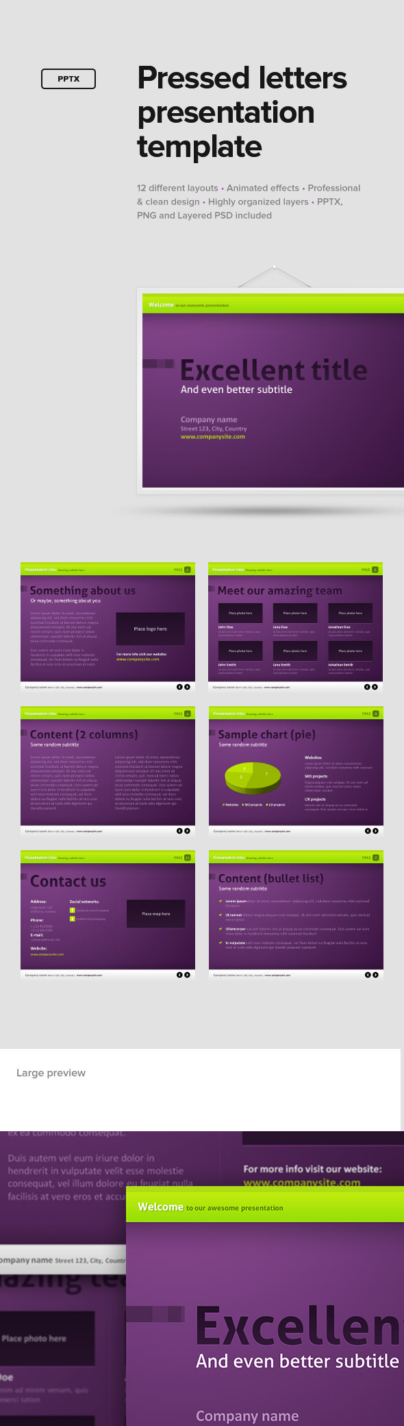 Pressed Letters Presentation Template - PowerPoint Templates Presentation Templates