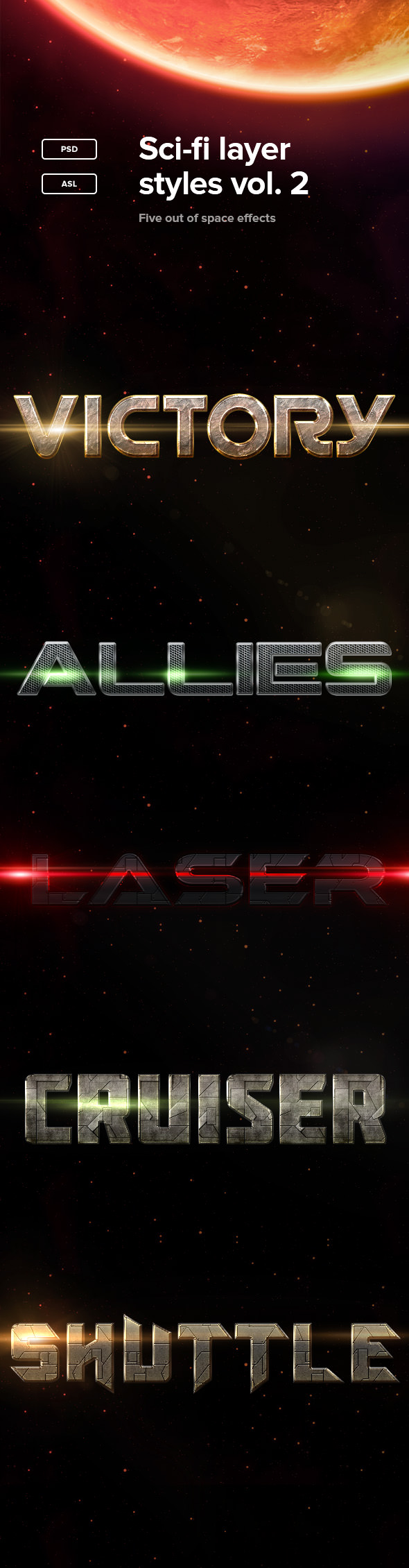 Sci-fi Layer Styles Vol. 2 - Text Effects Styles