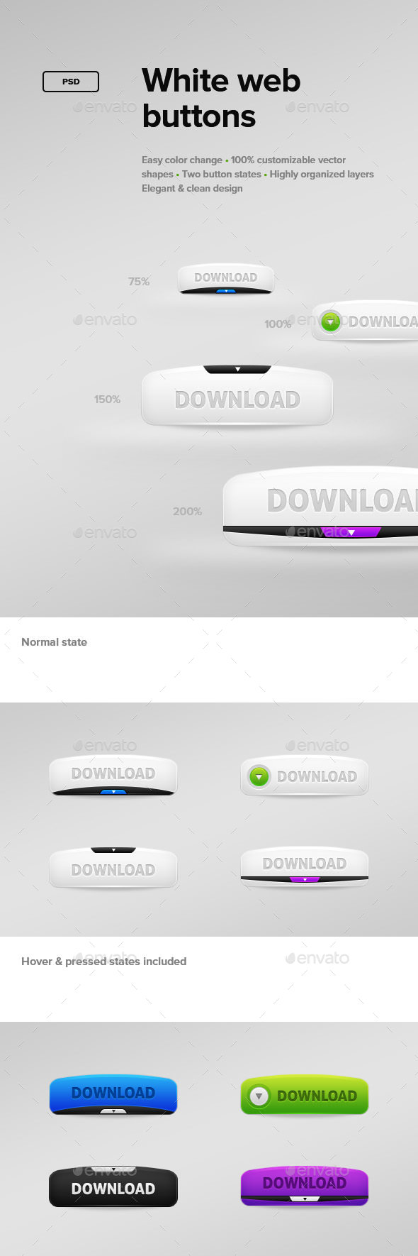 White Web Buttons - Buttons Web Elements