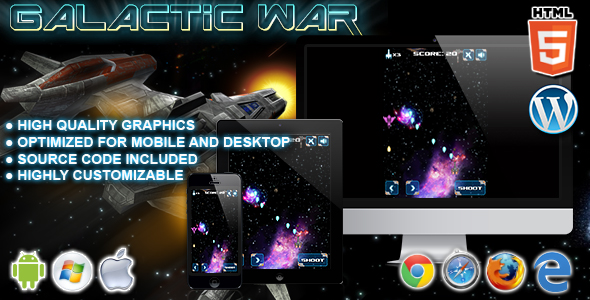 Galactic War - HTML5 Game - CodeCanyon Item for Sale