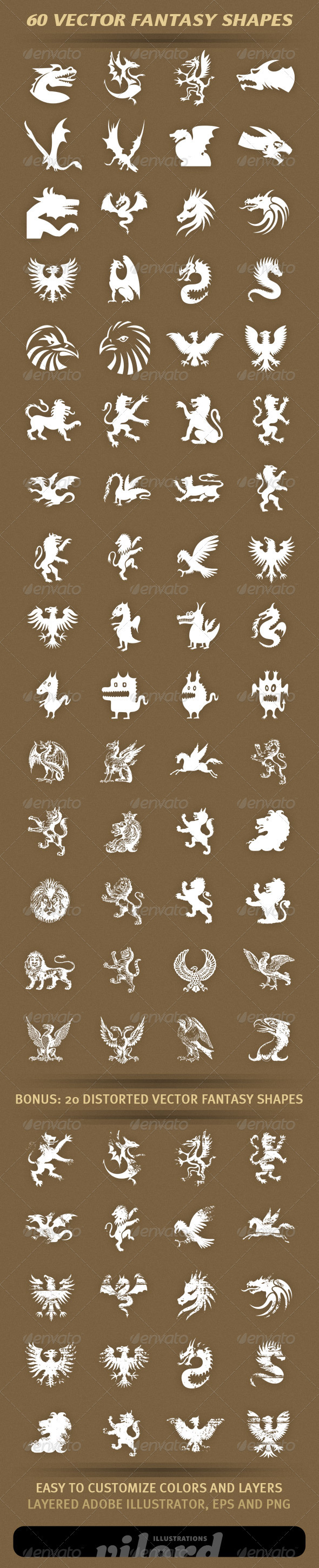 60 Fantasy Shapes - Characters Vectors