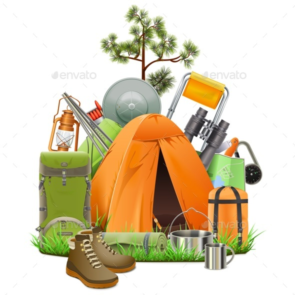 GraphicRiver Vector Camping Tent 20329617