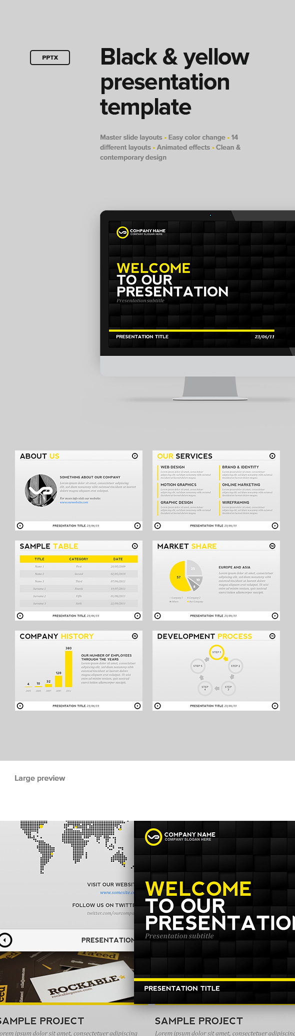 Black & Yellow Presentation Template - PowerPoint Templates Presentation Templates
