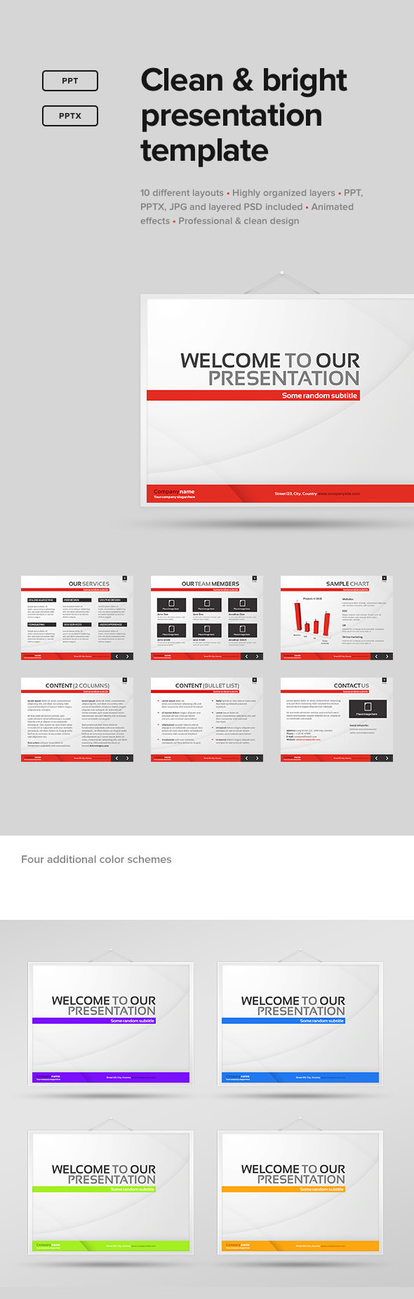 Clean & Bright Presentation Template - PowerPoint Templates Presentation Templates