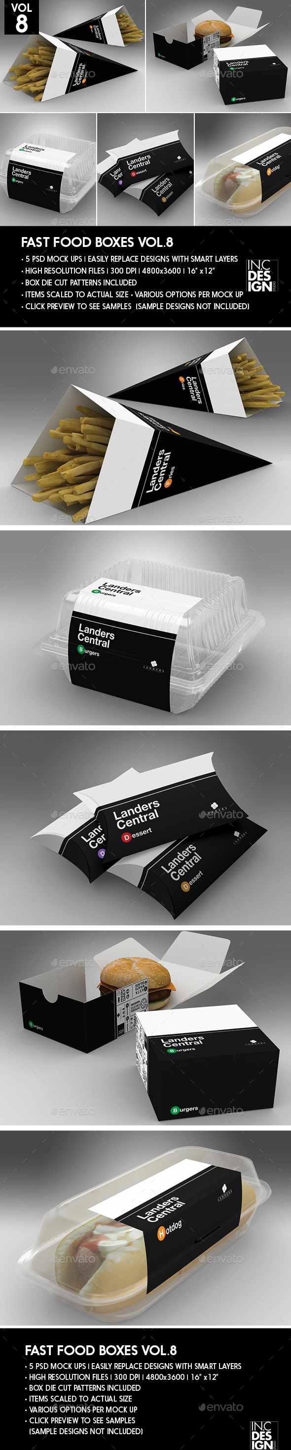 Fast Food Boxes Vol.8:Take Out Packaging Mock Ups