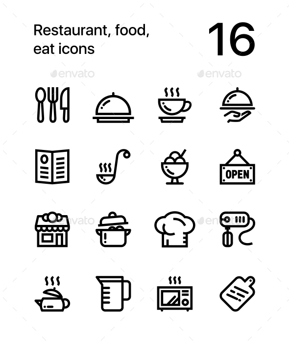 Restaurant food cooking icons for web and mobile design