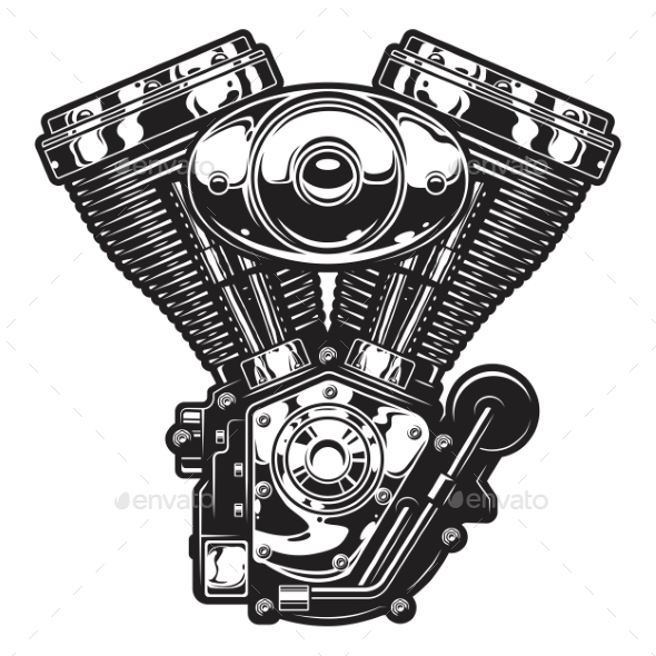 Illustration of Motorcycle Engine - Industries Business