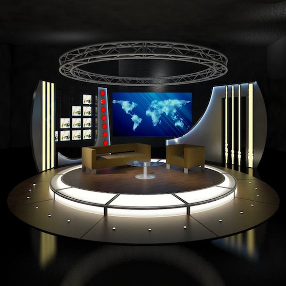 Virtual TV Studio Chat Set 19 - 3DOcean Item for Sale