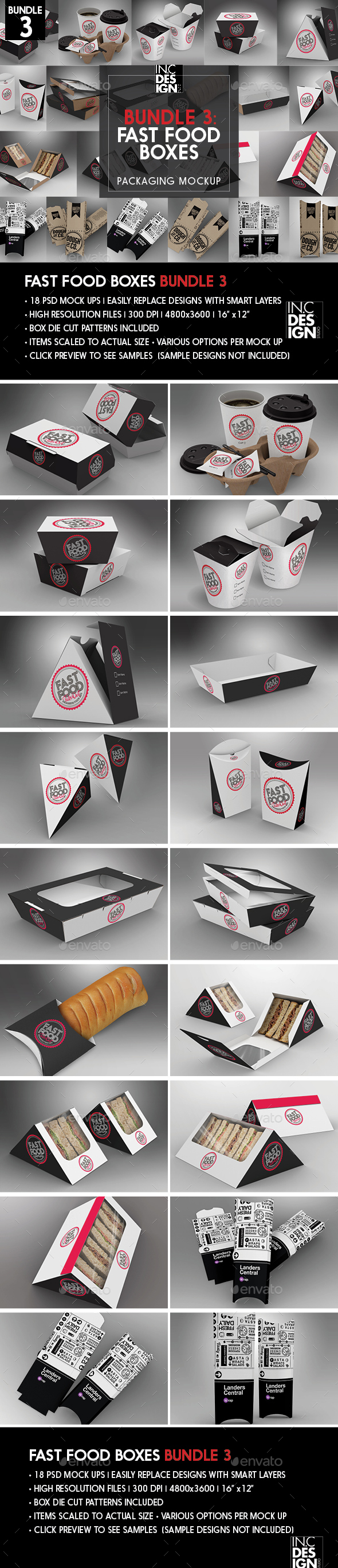 Fast Food Boxes Mock Up Bundle 3 - Food and Drink Packaging