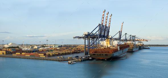 panorama of freeport, bahamas - Stock Photo - Images