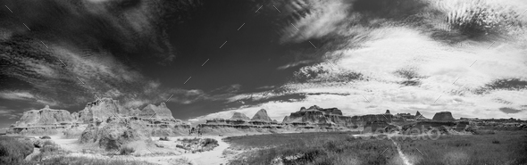 black and white badlands panorama - Stock Photo - Images