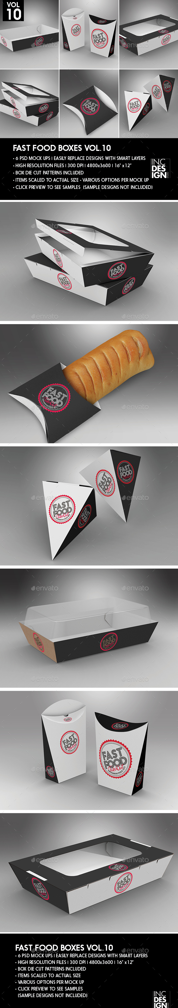 Fast Food Boxes Vol.10:Take Out Packaging Mock Ups