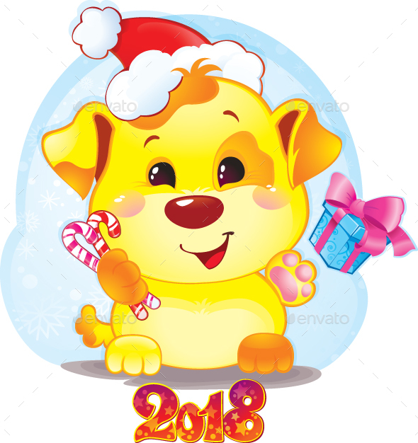 Symbol Of Chinese Horoscope Yellow Dog For New Year 2018 By Solaie