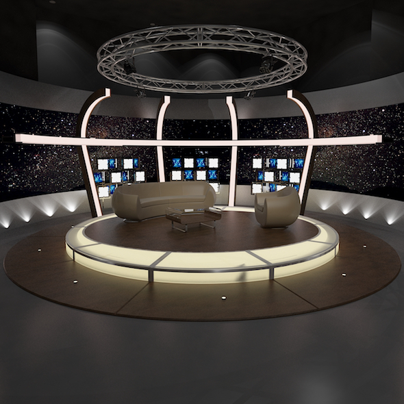 3d Virtual TV Studio Chat Set 20 - 3DOcean Item for Sale