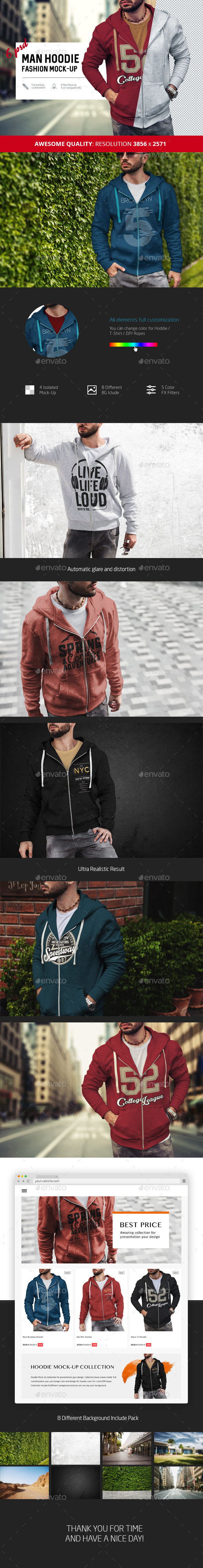 Man Hoodie Fashion Mock-Up - Apparel Product Mock-Ups