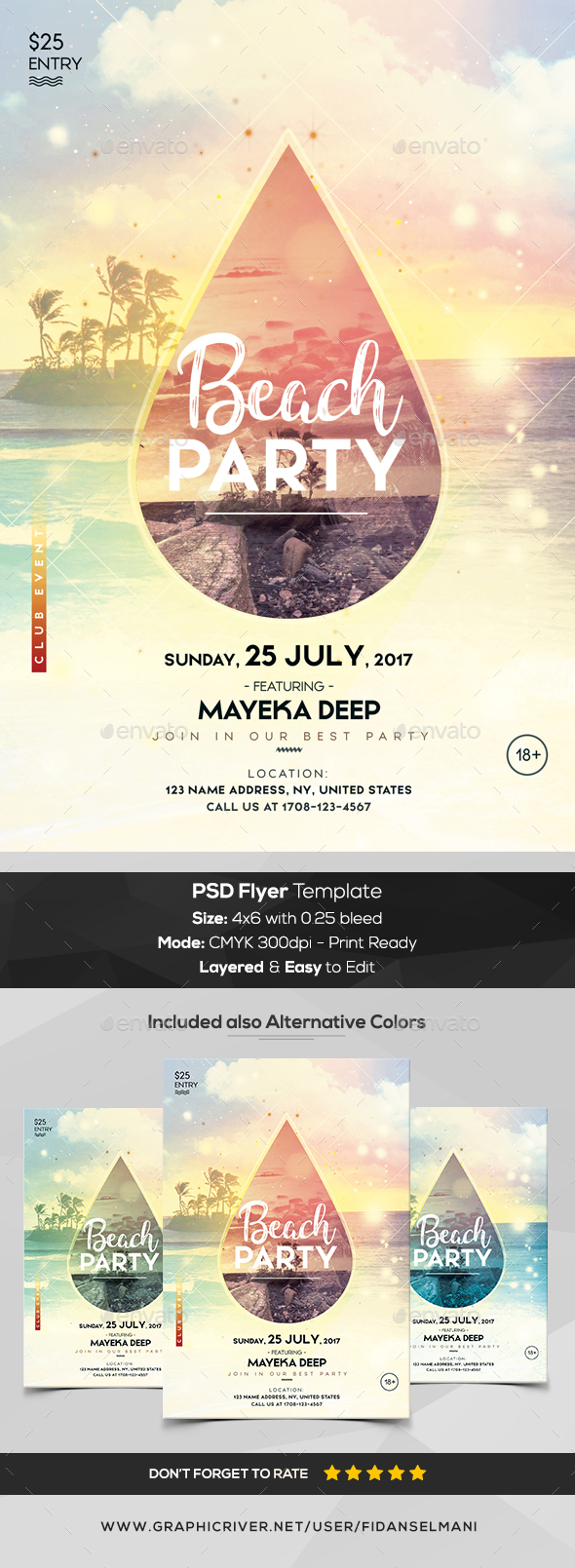 Beach Party - PSD Flyer Template - Flyers Print Templates