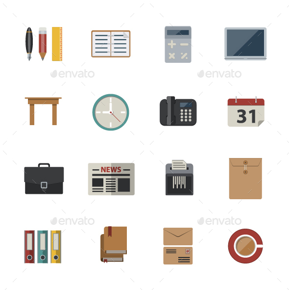 GraphicRiver Business and office icon Vector Flat Icons 20330621