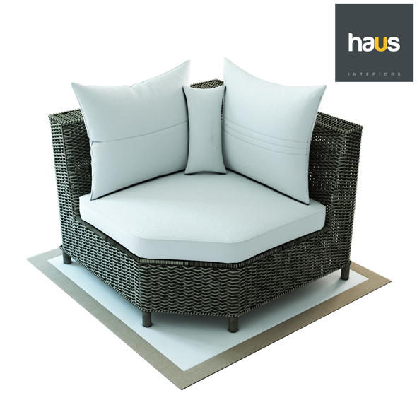 3DOcean Haus Interior Corner armchair made of woven rattan 20330948
