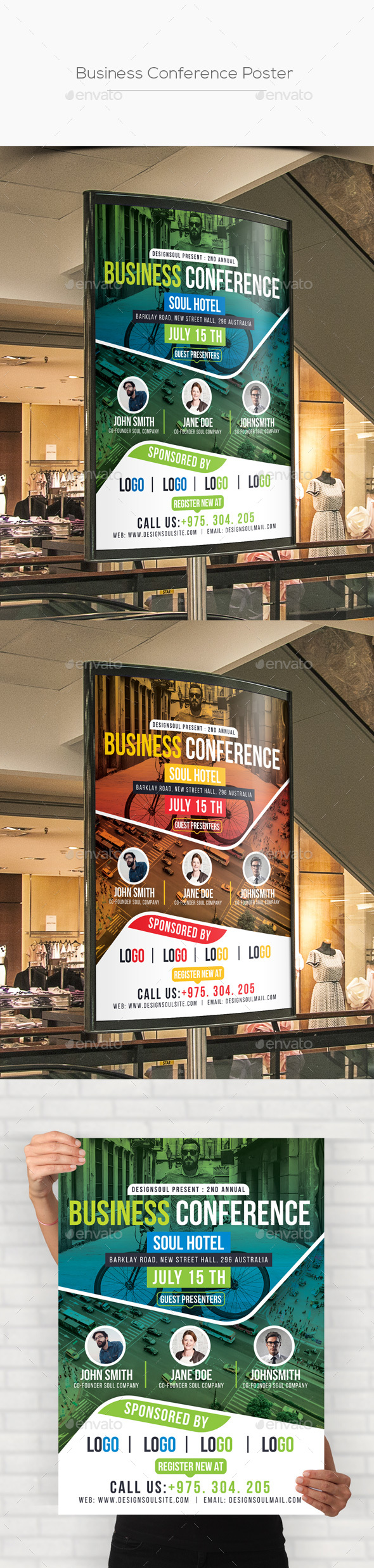 Business Conference Poster Template - Signage Print Templates