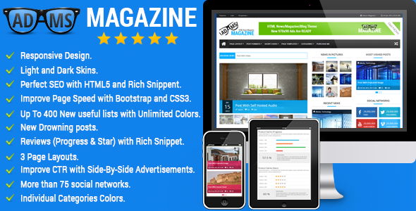 Adams Magazine - Responsive Magazine/Blog Theme - Creative Site Templates
