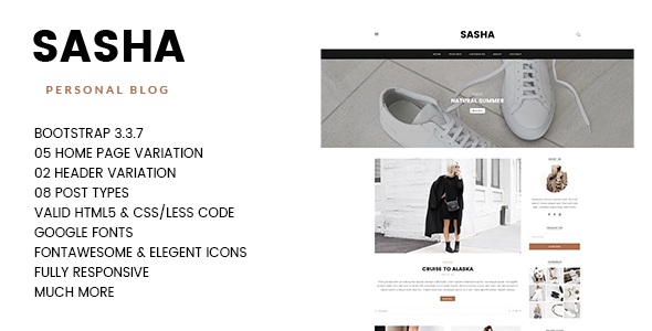 SASHA – Way of life, Storyteller Responsive Blogging HTML5 Template with PSD Files (Individual)