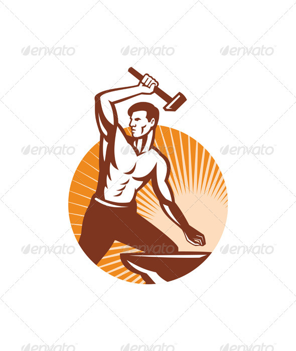 Blacksmith Holding Hammer with Anvil - Characters Vectors