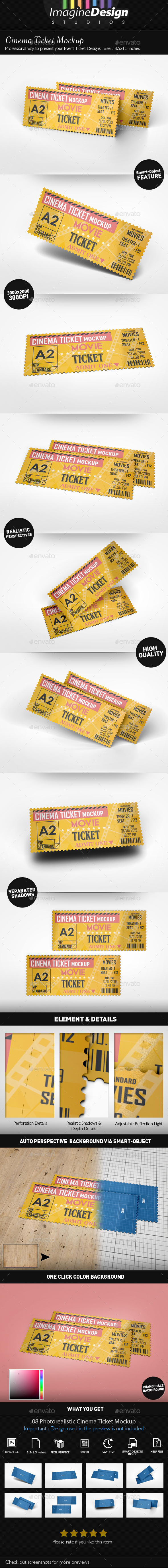 Cinema Ticket Mockup - Miscellaneous Print