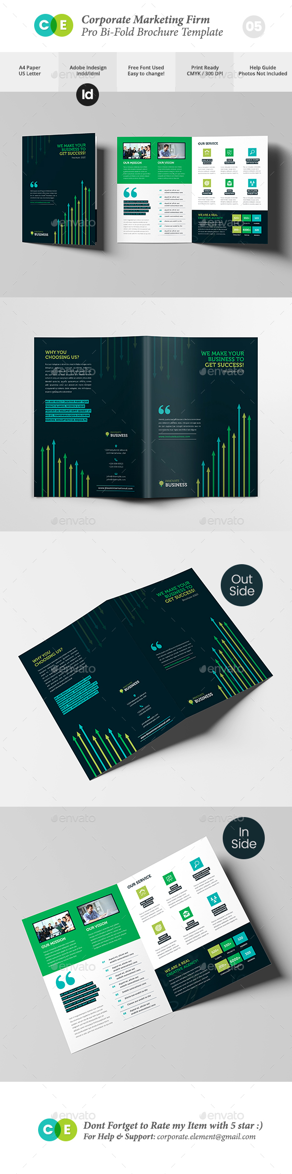 Corporate Marketing Firm Pro Bi-Fold Brochure V05 - Brochures Print Templates