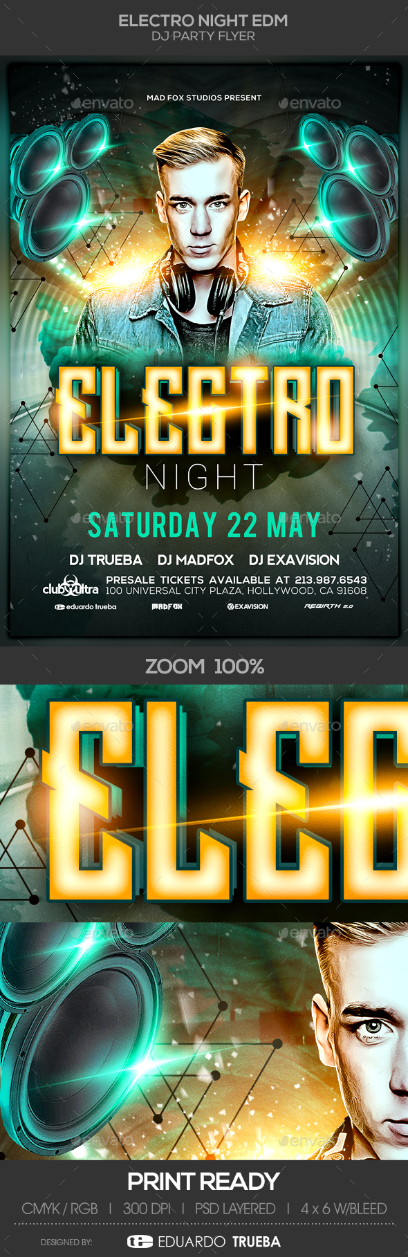 Electro Night EDM Dj Party Flyer - Clubs & Parties Events