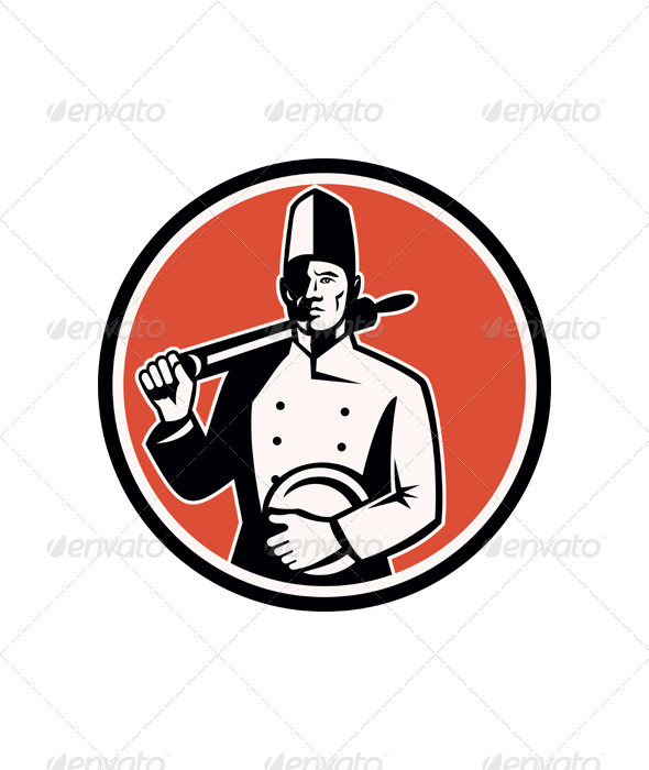 Baker Chef Cook With Roller Woodcut Retro - People Characters