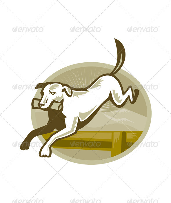 Retriever Hunting Dog Jumping - Animals Characters