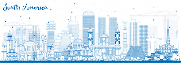 Outline South America Skyline with Famous Landmarks - Buildings Objects
