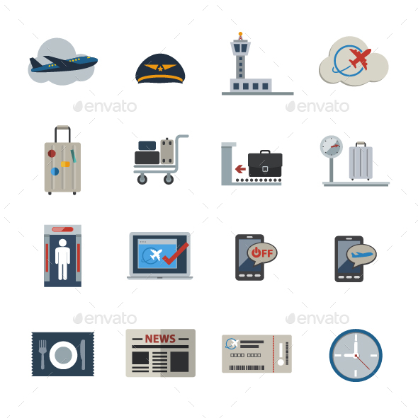 Airport icons set. Vector Flat icons set - Objects Icons