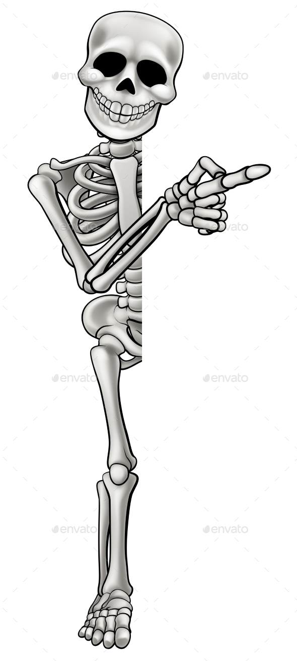 GraphicRiver Skeleton Cartoon Character Pointing 20332714