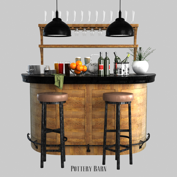 Pottery barn Lawrence Demilune Bar Cabinet - 3DOcean Item for Sale