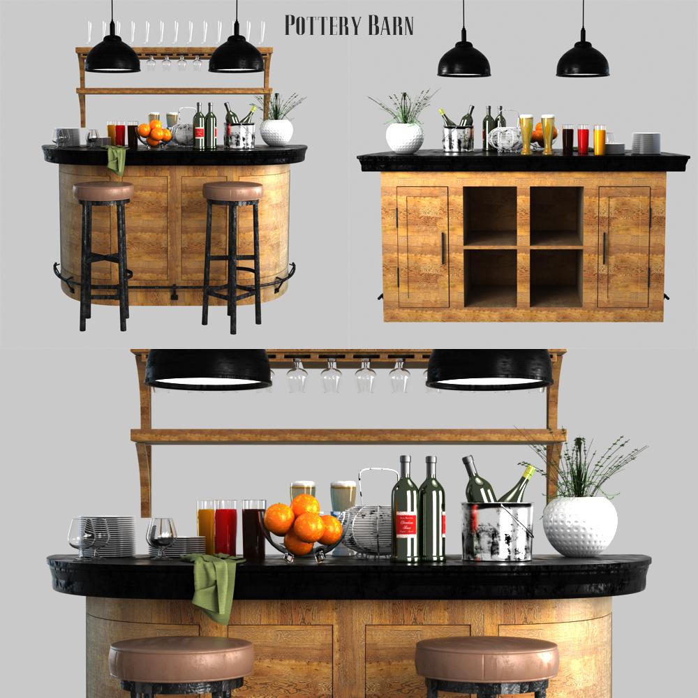 Pottery Barn Lawrence Demilune Bar Cabinet By Erkin Aliyev 3docean