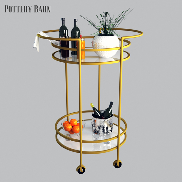Pottery barn Tristan Bar Cart - 3DOcean Item for Sale
