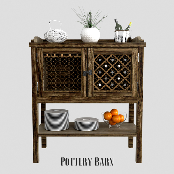 Pottery barn Georgia Bar Cabinet - 3DOcean Item for Sale