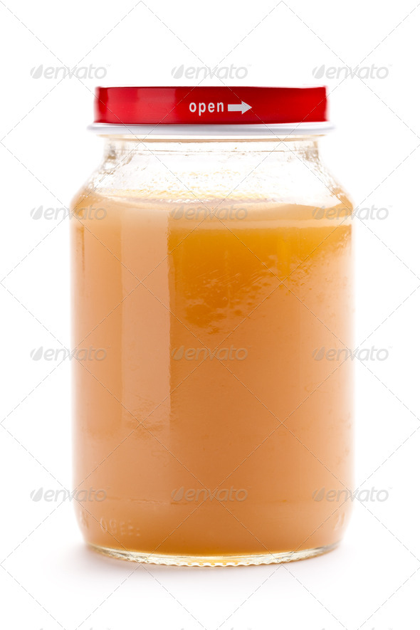 glass jar of baby food - Stock Photo - Images