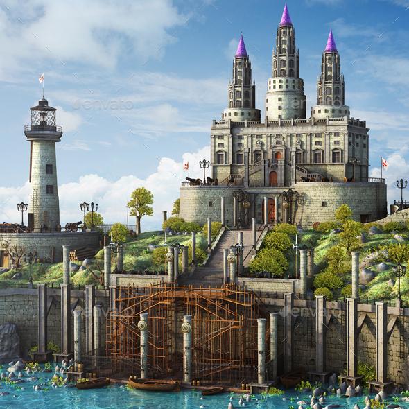 Fantasy Medieval Landscape - 3D Renders Graphics