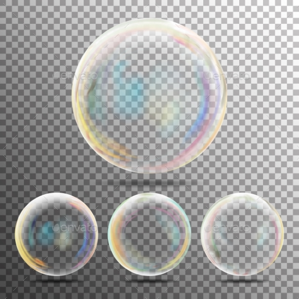 Realistic Soap Bubbles With Rainbow Reflection - Objects Vectors